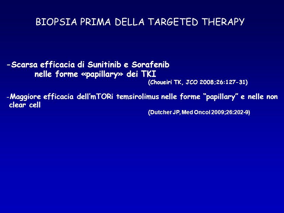 BIOPSIA PRIMA DELLA TARGETED THERAPY -Scarsa efficacia di Sunitinib e Sorafenib nelle forme «papillary» dei TKI (Choueiri TK, JCO 2008;26:127-31) - Ma
