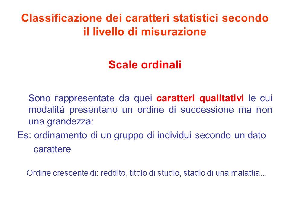 Classificazione dei caratteri statistici secondo il livello di misurazione Scale ad intervalli Sono rappresentate da caratteri quantitativi disposti in una scala ordinale in cui è possibile misurare la distanza tra di essi espressi in valori singoli o in classi di valori (lunghezza, statura, peso,....)