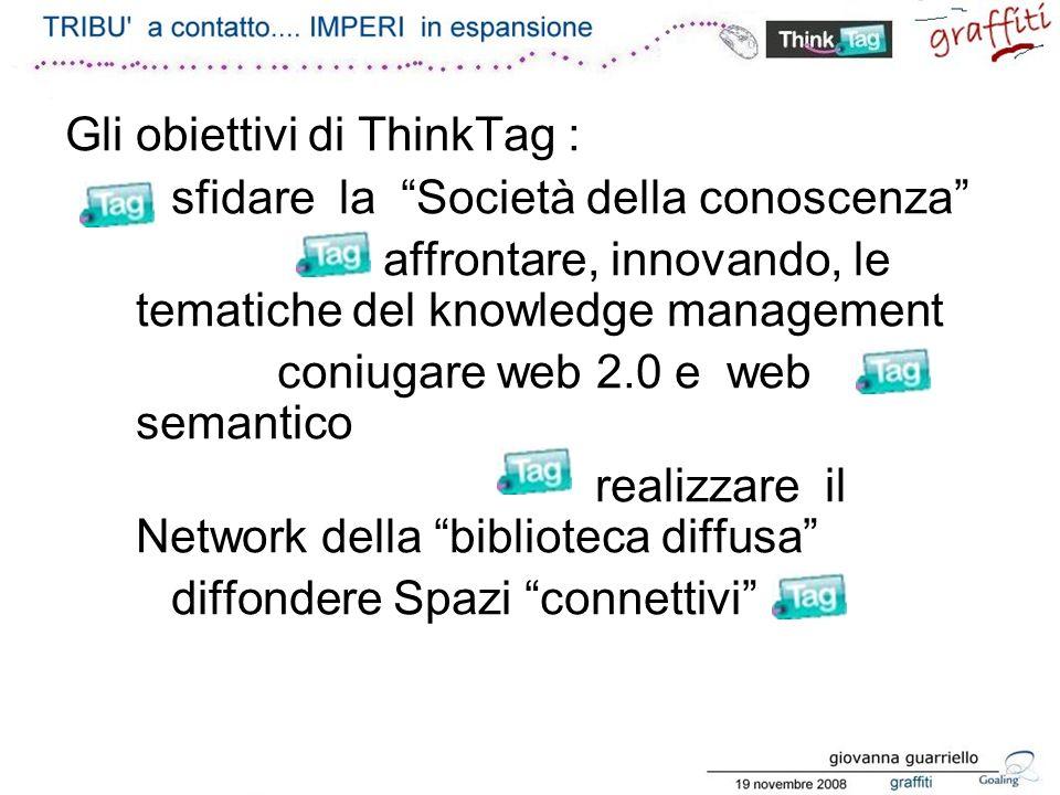 Gli obiettivi di ThinkTag : sfidare la Società della conoscenza affrontare, innovando, le tematiche del knowledge management coniugare web 2.0 e web semantico realizzare il Network della biblioteca diffusa diffondere Spazi connettivi