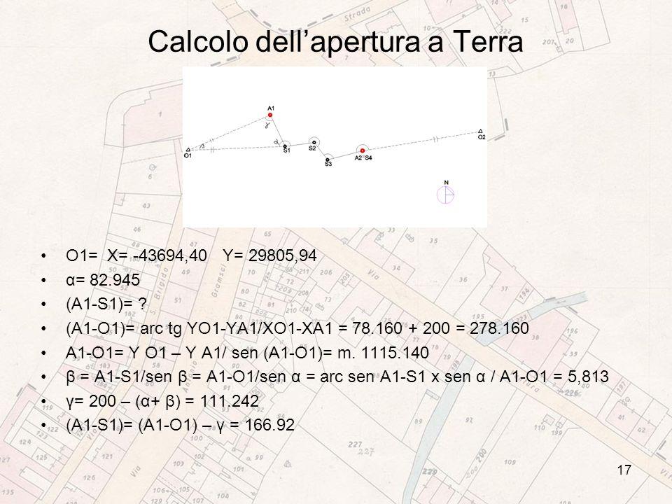 Calcolo dellapertura a Terra O1= X= -43694,40 Y= 29805,94 α= 82.945 (A1-S1)= .