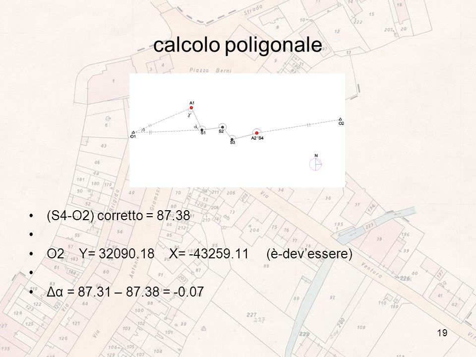 calcolo poligonale (S4-O2) corretto = 87.38 O2 Y= 32090.18 X= -43259.11 (è-devessere) Δα = 87.31 – 87.38 = -0.07 19