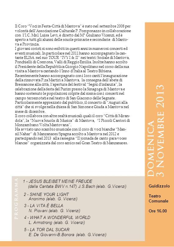 Il Coro Voci in Festa-Città di Mantova è nato nel settembre 2008 per volontà dellAssociazione Culturale P.