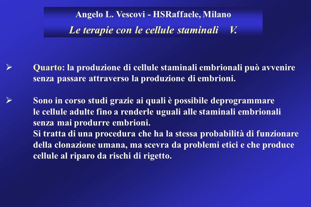 Angelo L. Vescovi - HSRaffaele, Milano Le terapie con le cellule staminali V. Quarto: la produzione di cellule staminali embrionali può avvenire senza