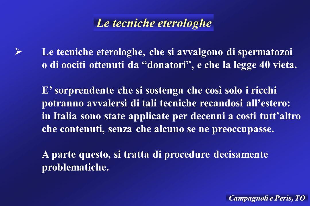 Campagnoli e Peris, TO Le tecniche eterologhe, che si avvalgono di spermatozoi o di oociti ottenuti da donatori, e che la legge 40 vieta.