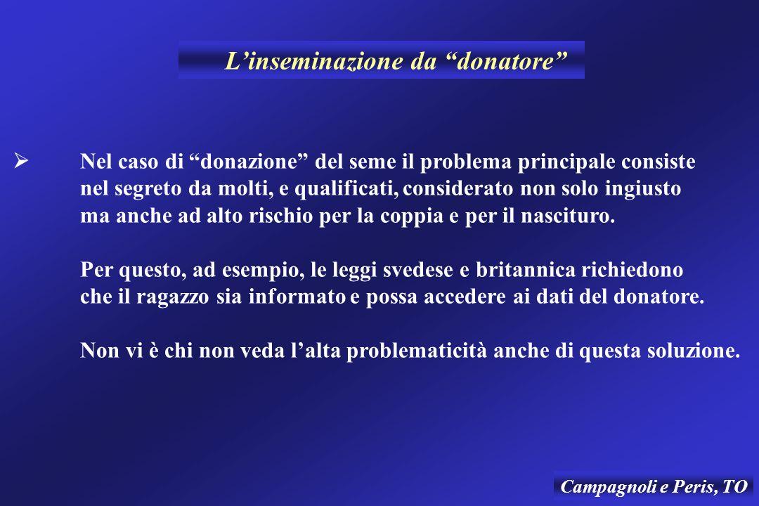 Campagnoli e Peris, TO Nel caso di donazione del seme il problema principale consiste nel segreto da molti, e qualificati, considerato non solo ingius
