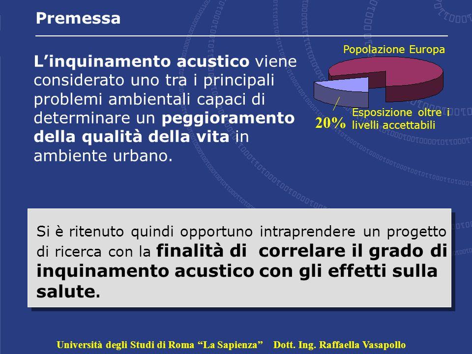 Premessa Linquinamento acustico viene considerato uno tra i principali problemi ambientali capaci di determinare un peggioramento della qualità della vita in ambiente urbano.