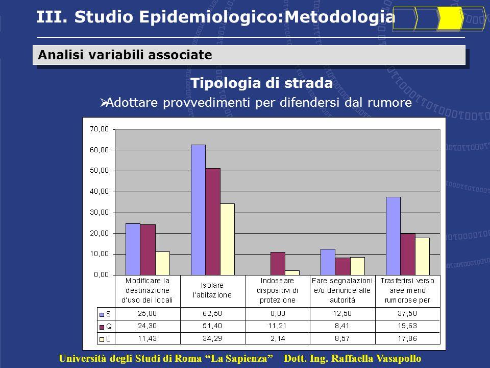 III. Studio Epidemiologico:Metodologia Analisi variabili associate Tipologia di strada Adottare provvedimenti per difendersi dal rumore Università deg