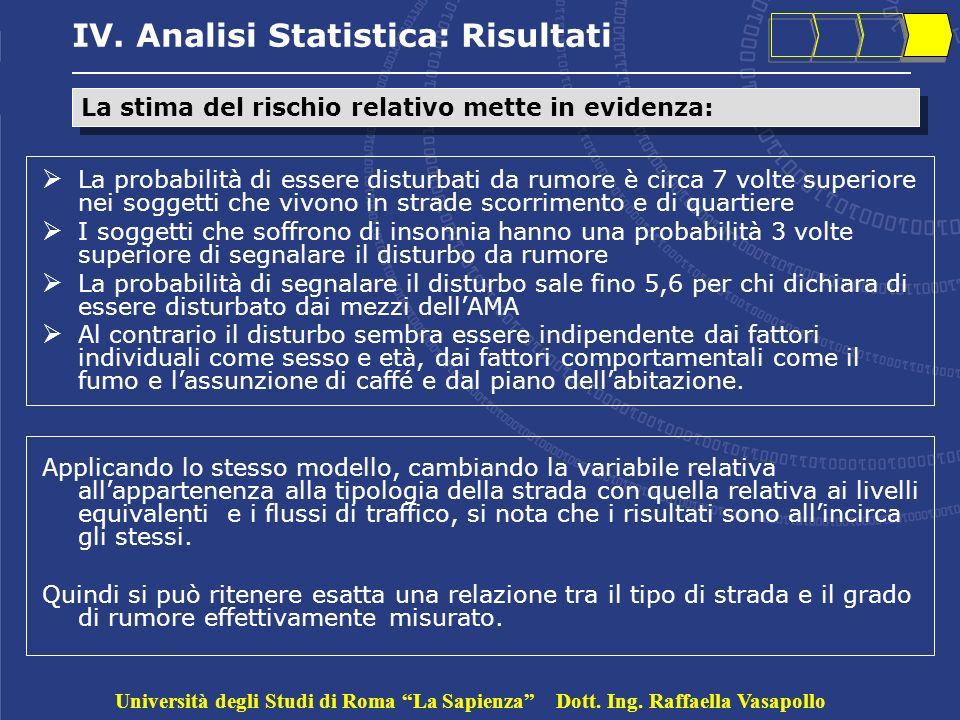 IV. Analisi Statistica: Risultati La probabilità di essere disturbati da rumore è circa 7 volte superiore nei soggetti che vivono in strade scorriment