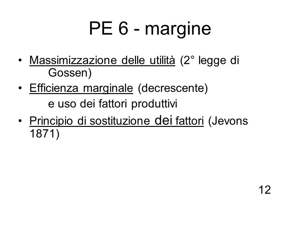 PE 6 - margine Massimizzazione delle utilità (2° legge di Gossen) Efficienza marginale (decrescente) e uso dei fattori produttivi Principio di sostitu