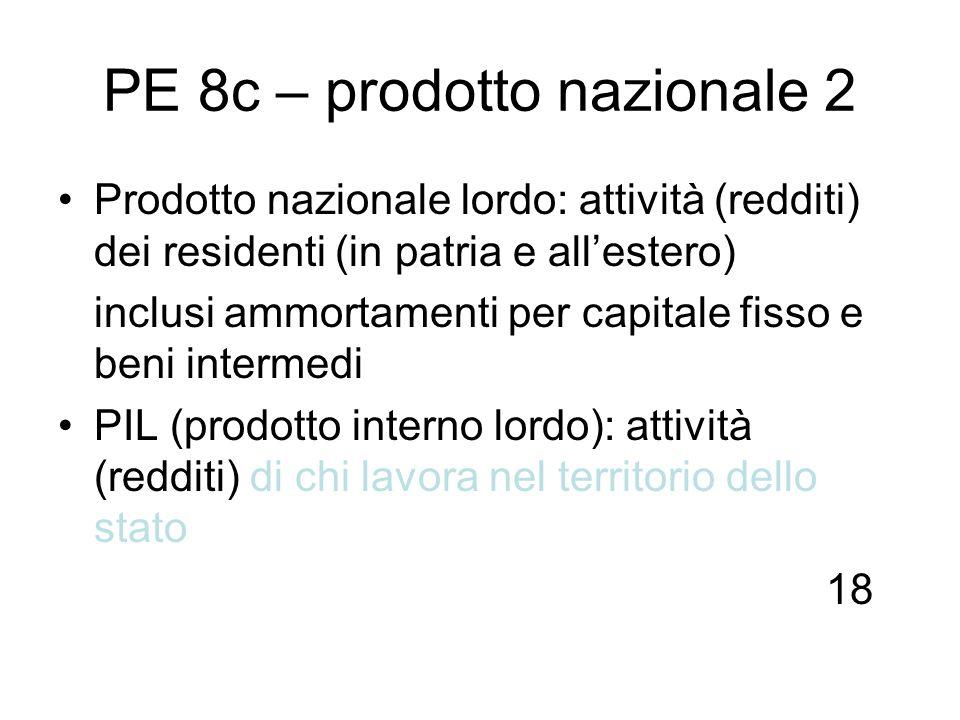 PE 8c – prodotto nazionale 2 Prodotto nazionale lordo: attività (redditi) dei residenti (in patria e allestero) inclusi ammortamenti per capitale fiss
