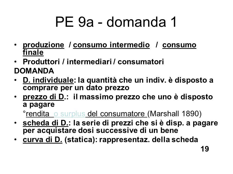 PE 9a - domanda 1 produzione / consumo intermedio / consumo finale Produttori / intermediari / consumatori DOMANDA D. individuale: la quantità che un