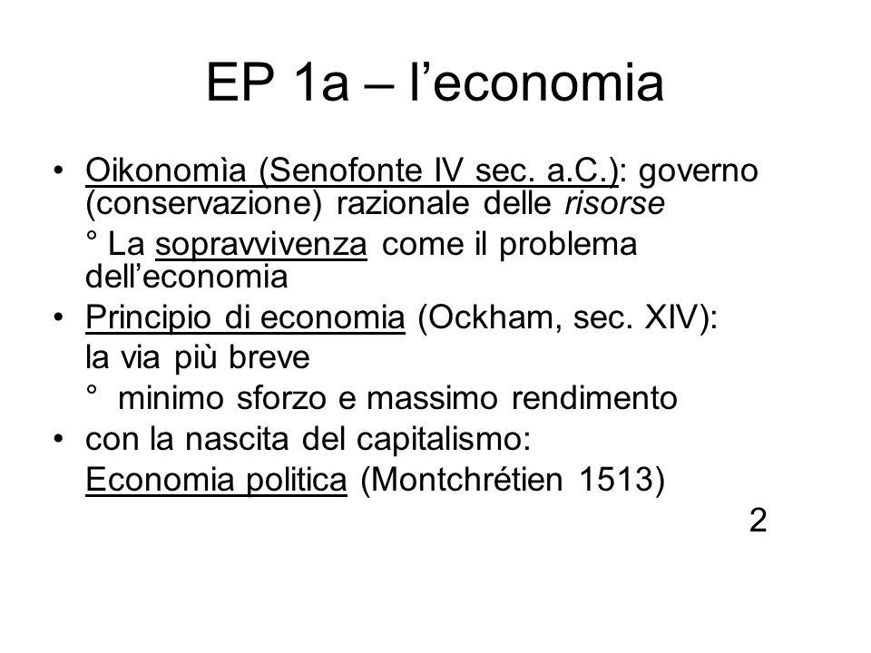 EP 1a – leconomia Oikonomìa (Senofonte IV sec. a.C.): governo (conservazione) razionale delle risorse ° La sopravvivenza come il problema delleconomia