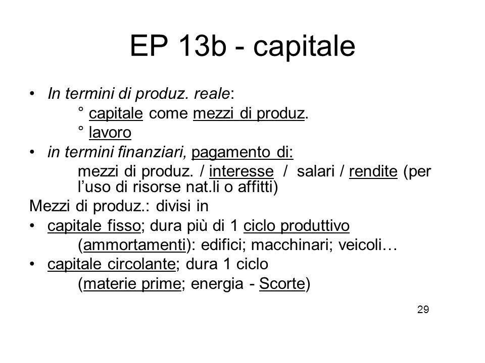 EP 13b - capitale In termini di produz. reale: ° capitale come mezzi di produz. ° lavoro in termini finanziari, pagamento di: mezzi di produz. / inter