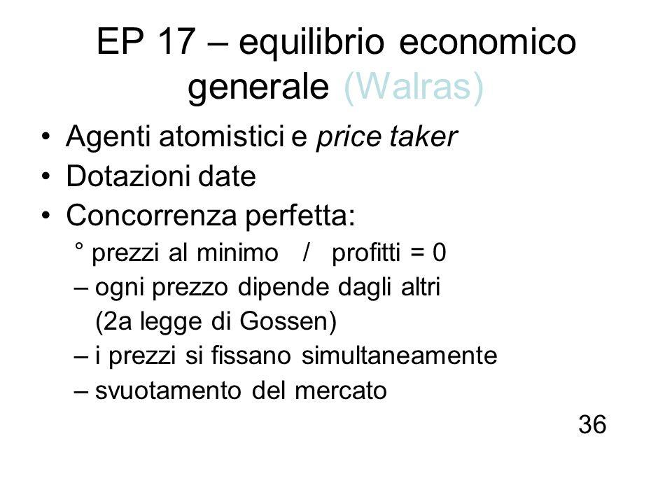 EP 17 – equilibrio economico generale (Walras) Agenti atomistici e price taker Dotazioni date Concorrenza perfetta: ° prezzi al minimo / profitti = 0