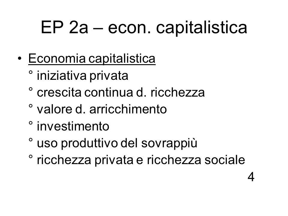 EP 2a – econ. capitalistica Economia capitalistica ° iniziativa privata ° crescita continua d. ricchezza ° valore d. arricchimento ° investimento ° us