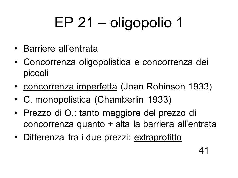 EP 21 – oligopolio 1 Barriere allentrata Concorrenza oligopolistica e concorrenza dei piccoli concorrenza imperfetta (Joan Robinson 1933) C. monopolis