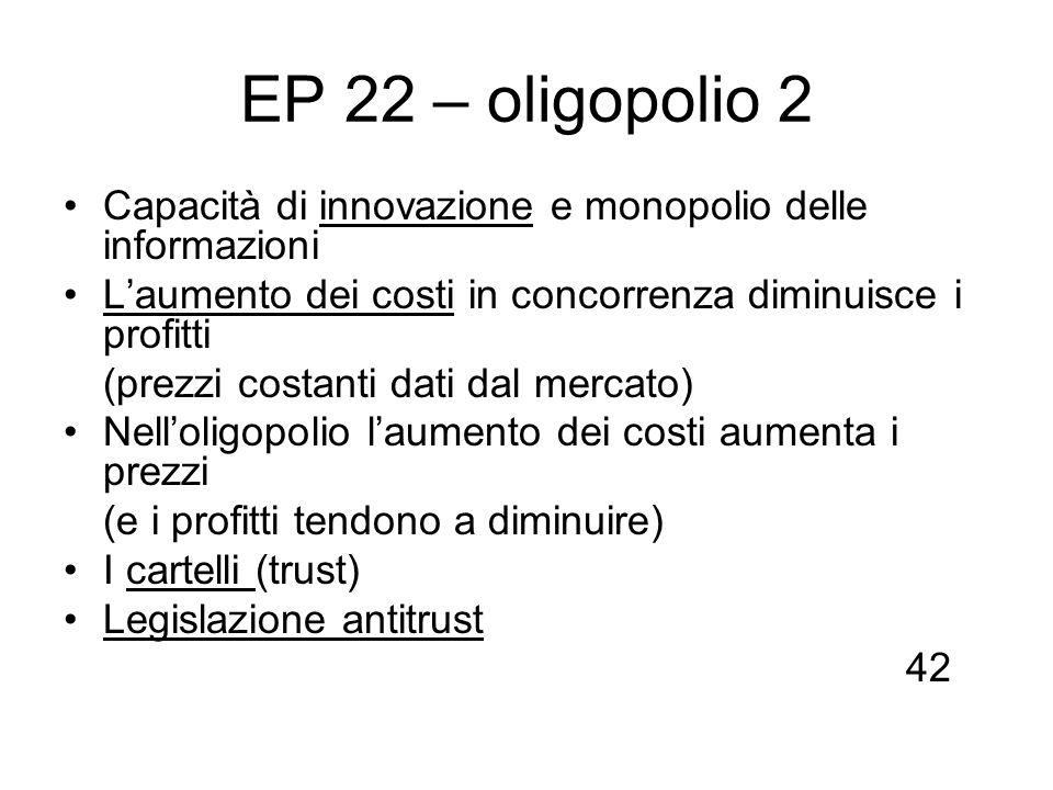 EP 22 – oligopolio 2 Capacità di innovazione e monopolio delle informazioni Laumento dei costi in concorrenza diminuisce i profitti (prezzi costanti d