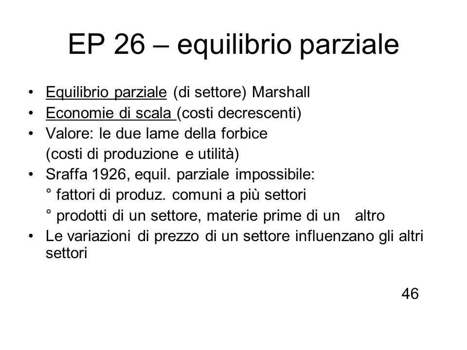 EP 26 – equilibrio parziale Equilibrio parziale (di settore) Marshall Economie di scala (costi decrescenti) Valore: le due lame della forbice (costi d