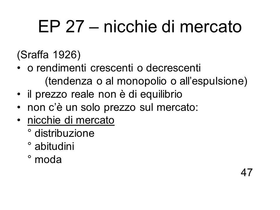 EP 27 – nicchie di mercato (Sraffa 1926) o rendimenti crescenti o decrescenti (tendenza o al monopolio o allespulsione) il prezzo reale non è di equil