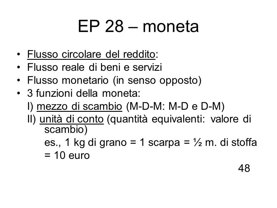 EP 28 – moneta Flusso circolare del reddito: Flusso reale di beni e servizi Flusso monetario (in senso opposto) 3 funzioni della moneta: I) mezzo di s