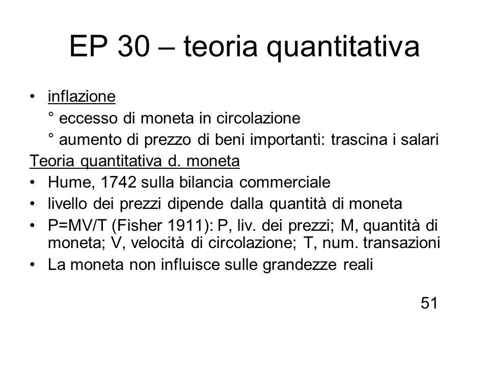 EP 30 – teoria quantitativa inflazione ° eccesso di moneta in circolazione ° aumento di prezzo di beni importanti: trascina i salari Teoria quantitati