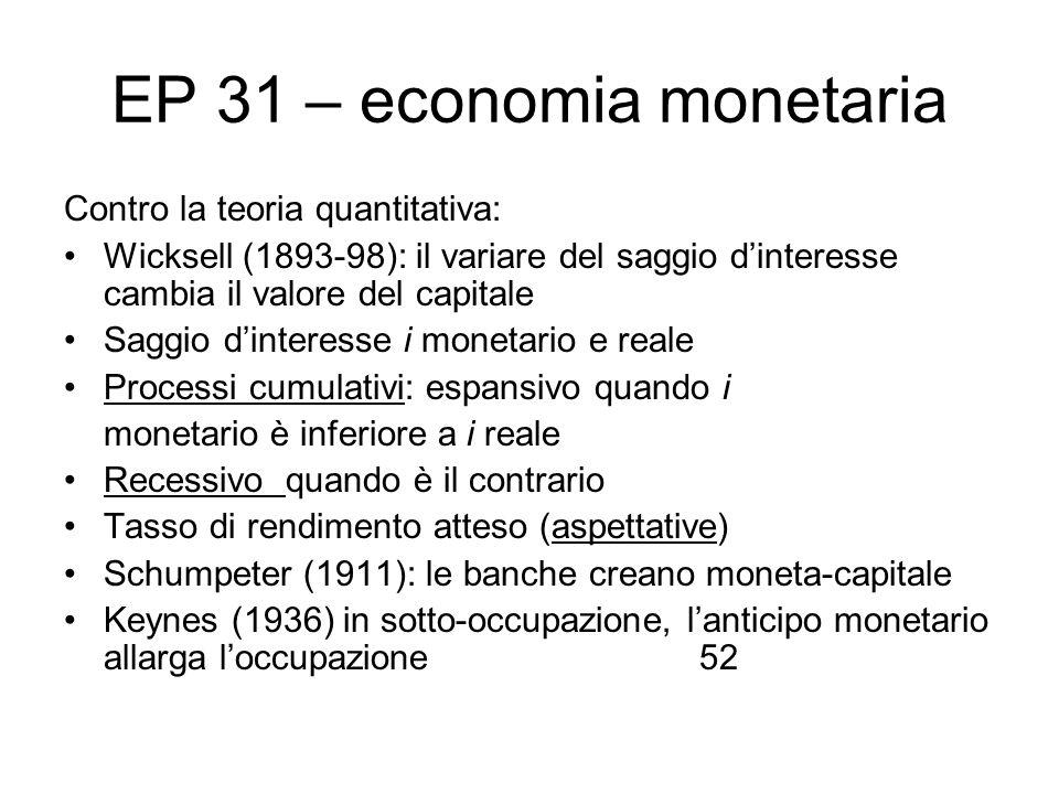 EP 31 – economia monetaria Contro la teoria quantitativa: Wicksell (1893-98): il variare del saggio dinteresse cambia il valore del capitale Saggio di