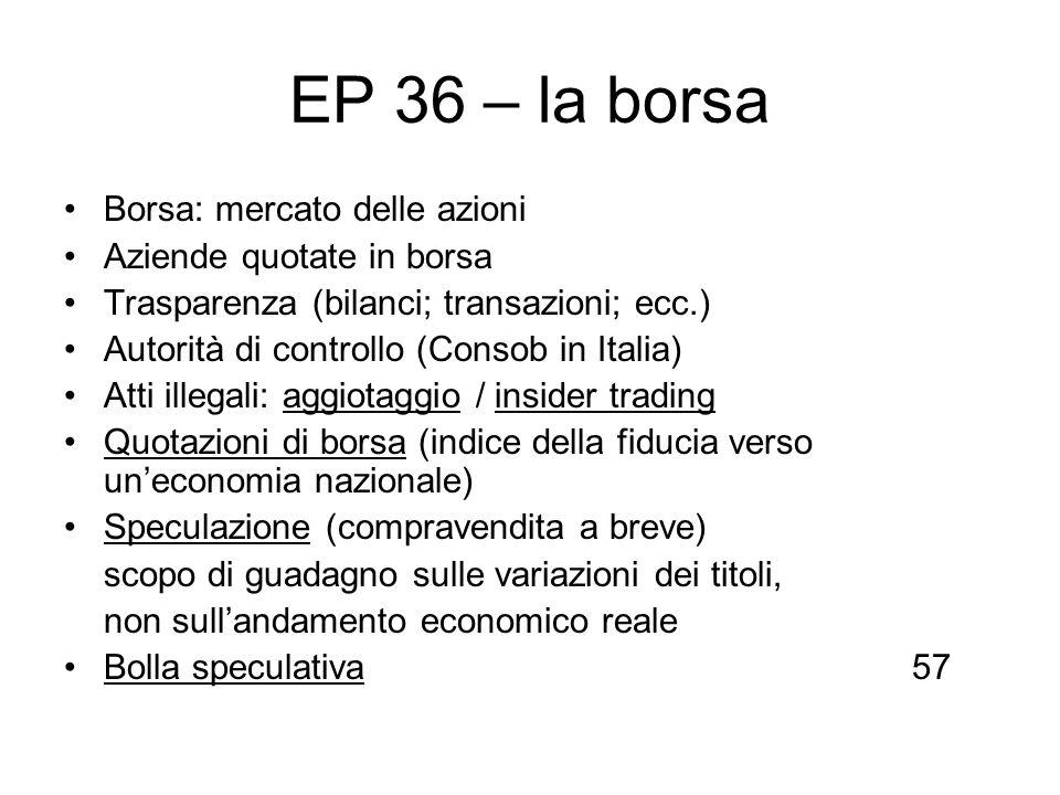 EP 36 – la borsa Borsa: mercato delle azioni Aziende quotate in borsa Trasparenza (bilanci; transazioni; ecc.) Autorità di controllo (Consob in Italia