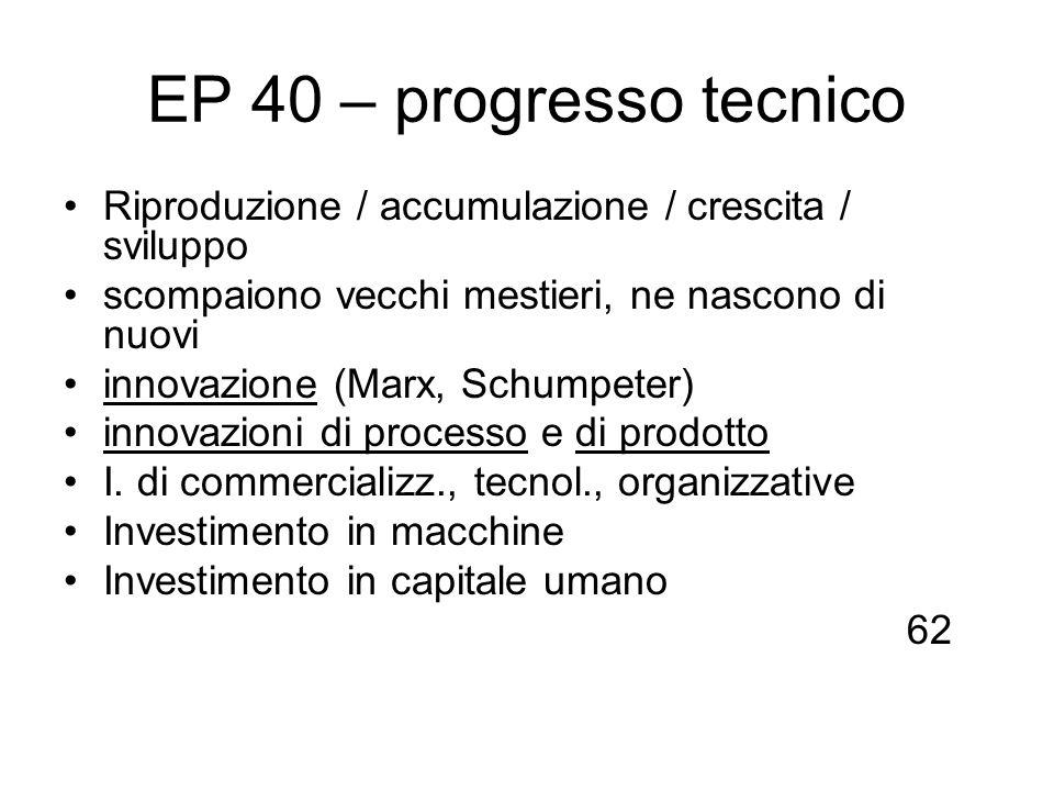 EP 40 – progresso tecnico Riproduzione / accumulazione / crescita / sviluppo scompaiono vecchi mestieri, ne nascono di nuovi innovazione (Marx, Schump