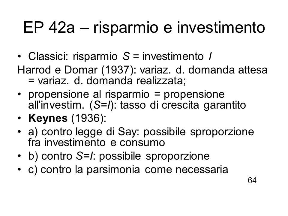 EP 42a – risparmio e investimento Classici: risparmio S = investimento I Harrod e Domar (1937): variaz. d. domanda attesa = variaz. d. domanda realizz