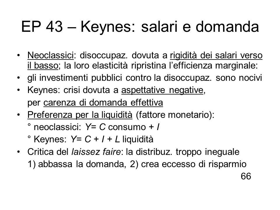 EP 43 – Keynes: salari e domanda Neoclassici: disoccupaz. dovuta a rigidità dei salari verso il basso; la loro elasticità ripristina lefficienza margi