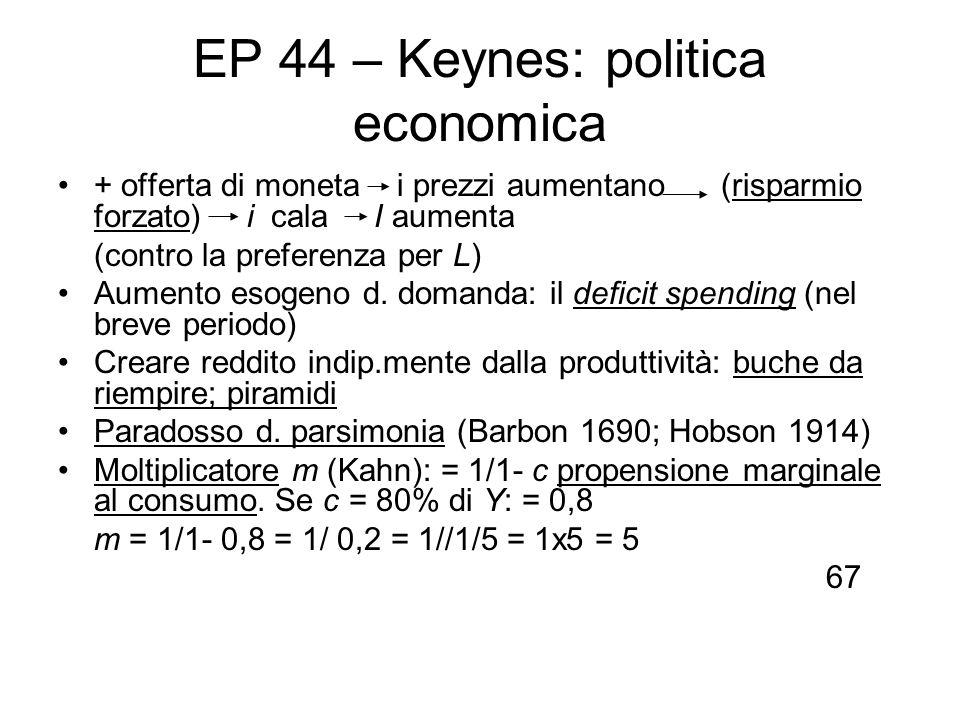EP 44 – Keynes: politica economica + offerta di moneta i prezzi aumentano (risparmio forzato) i cala I aumenta (contro la preferenza per L) Aumento es