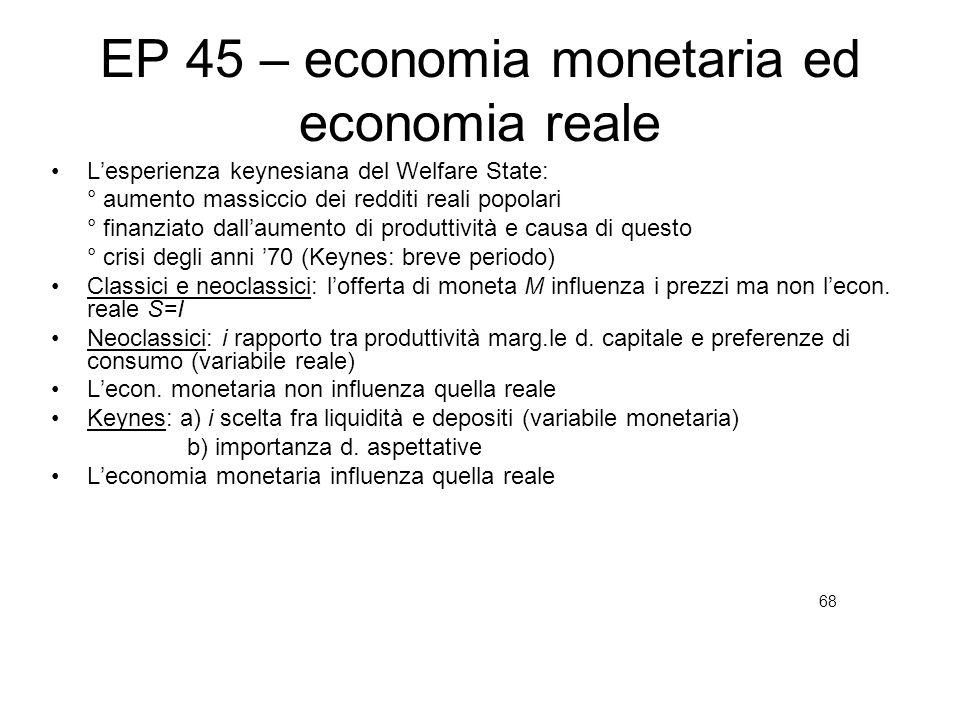 EP 45 – economia monetaria ed economia reale Lesperienza keynesiana del Welfare State: ° aumento massiccio dei redditi reali popolari ° finanziato dal