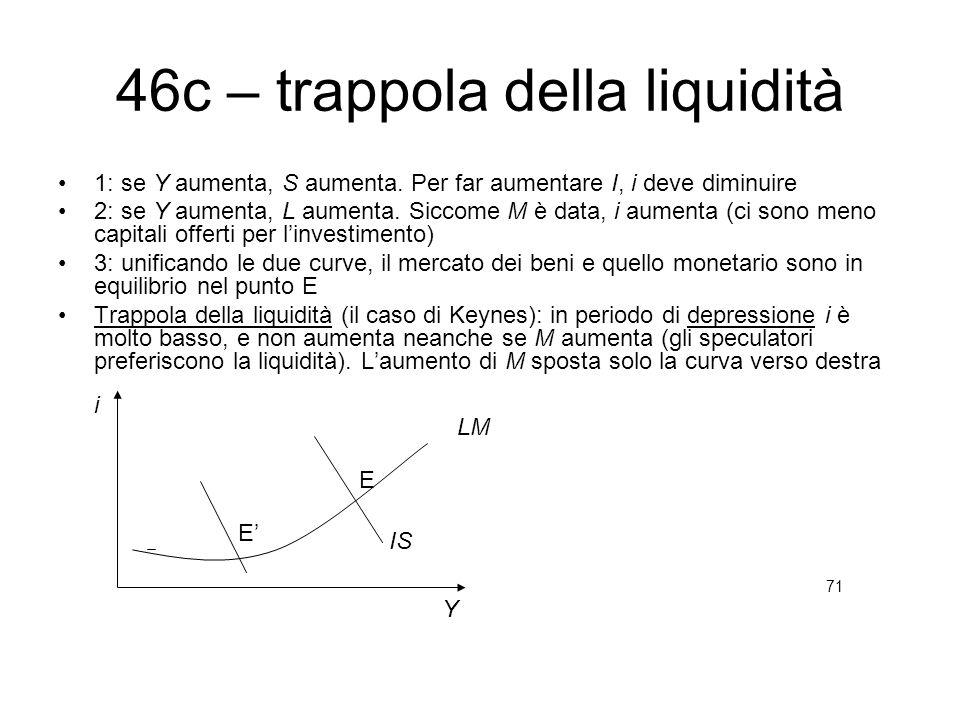 46c – trappola della liquidità 1: se Y aumenta, S aumenta. Per far aumentare I, i deve diminuire 2: se Y aumenta, L aumenta. Siccome M è data, i aumen