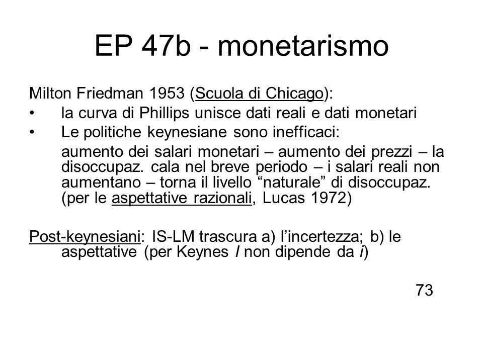 EP 47b - monetarismo Milton Friedman 1953 (Scuola di Chicago): la curva di Phillips unisce dati reali e dati monetari Le politiche keynesiane sono ine