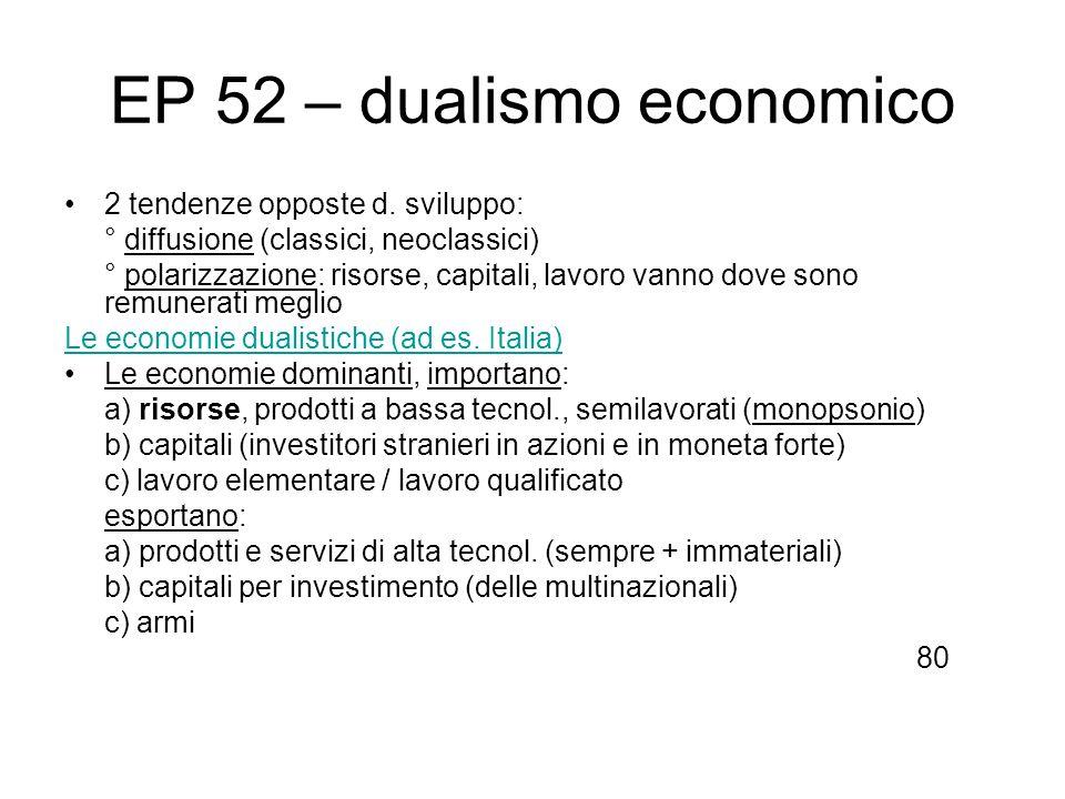 EP 52 – dualismo economico 2 tendenze opposte d. sviluppo: ° diffusione (classici, neoclassici) ° polarizzazione: risorse, capitali, lavoro vanno dove