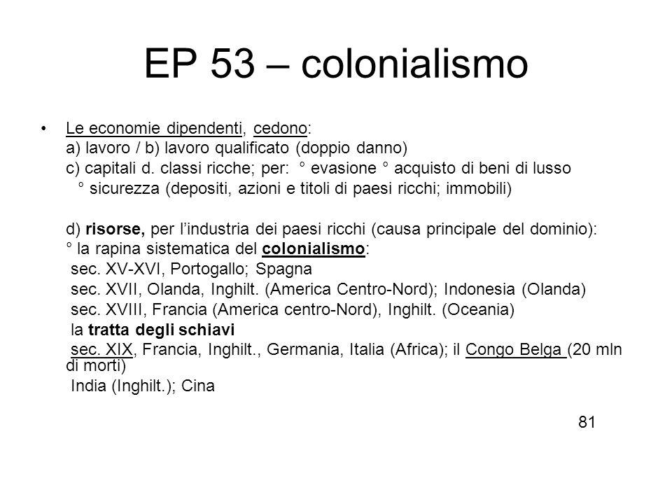 EP 53 – colonialismo Le economie dipendenti, cedono: a) lavoro / b) lavoro qualificato (doppio danno) c) capitali d. classi ricche; per: ° evasione °