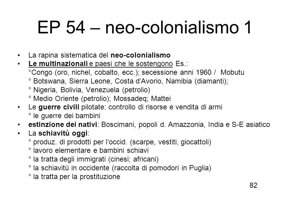 EP 54 – neo-colonialismo 1 La rapina sistematica del neo-colonialismo Le multinazionali e paesi che le sostengono Es.: °Congo (oro, nichel, cobalto, e