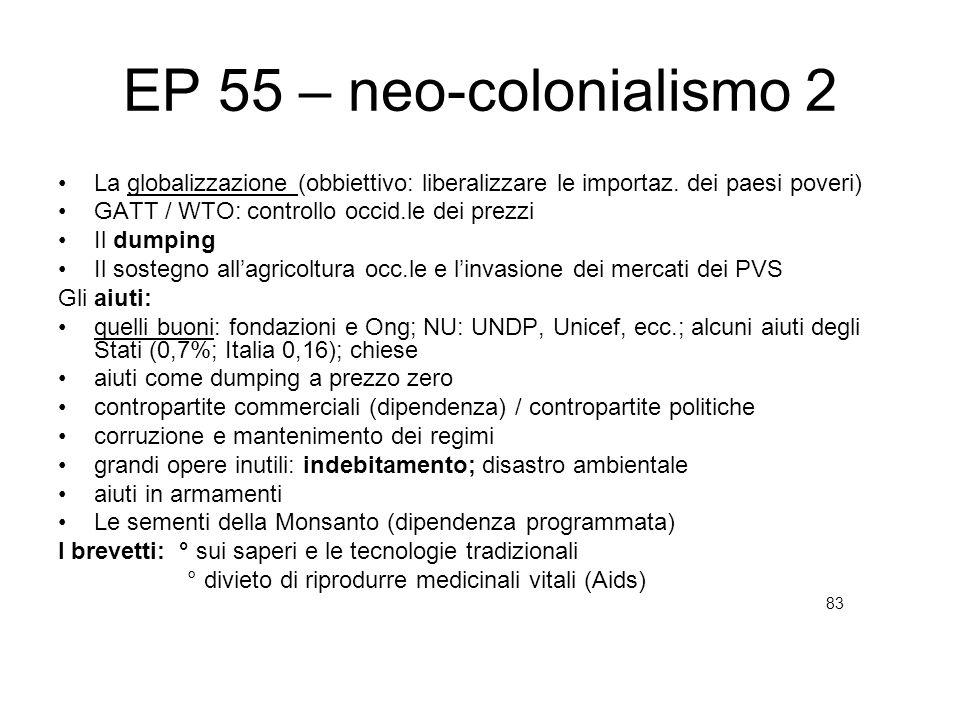 EP 55 – neo-colonialismo 2 La globalizzazione (obbiettivo: liberalizzare le importaz. dei paesi poveri) GATT / WTO: controllo occid.le dei prezzi Il d