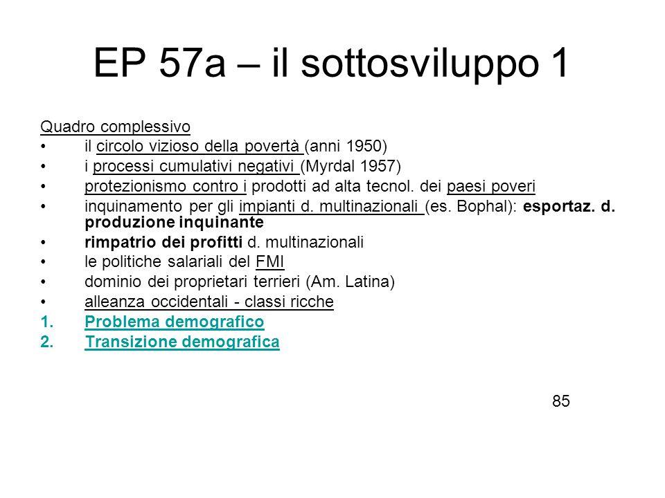 EP 57a – il sottosviluppo 1 Quadro complessivo il circolo vizioso della povertà (anni 1950) i processi cumulativi negativi (Myrdal 1957) protezionismo