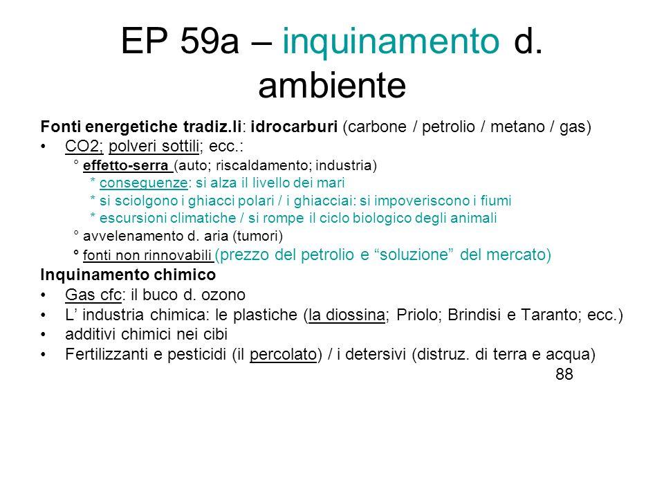 EP 59a – inquinamento d. ambiente Fonti energetiche tradiz.li: idrocarburi (carbone / petrolio / metano / gas) CO2; polveri sottili; ecc.: ° effetto-s