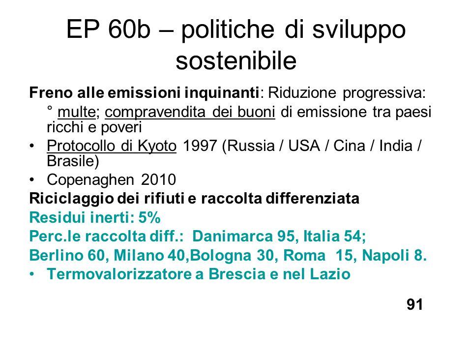 EP 60b – politiche di sviluppo sostenibile Freno alle emissioni inquinanti: Riduzione progressiva: ° multe; compravendita dei buoni di emissione tra p