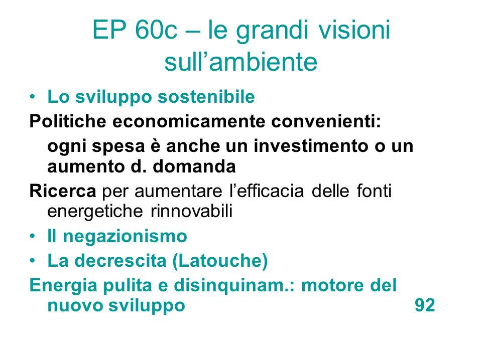 EP 60c – le grandi visioni sullambiente Lo sviluppo sostenibile Politiche economicamente convenienti: ogni spesa è anche un investimento o un aumento