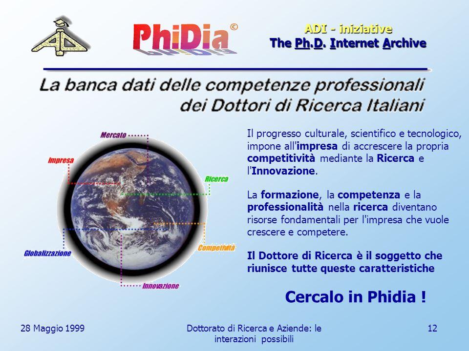 28 Maggio 1999Dottorato di Ricerca e Aziende: le interazioni possibili 12 Il progresso culturale, scientifico e tecnologico, impone all impresa di accrescere la propria competitività mediante la Ricerca e l Innovazione.