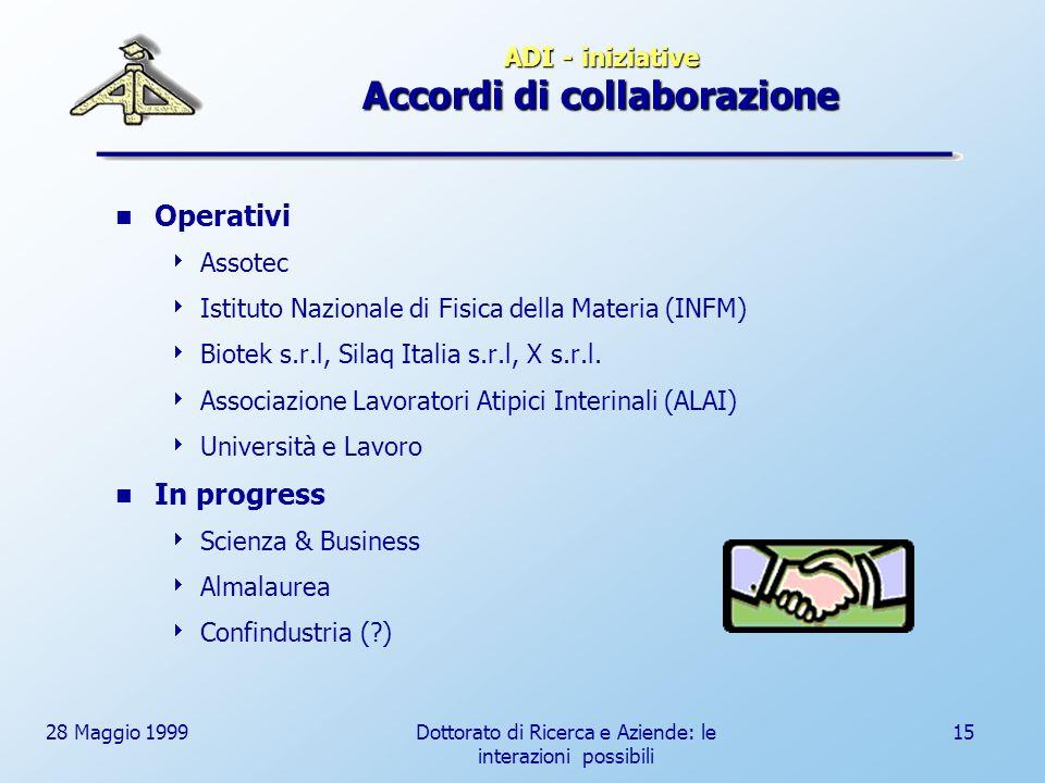 28 Maggio 1999Dottorato di Ricerca e Aziende: le interazioni possibili 15 ADI - iniziative Accordi di collaborazione Operativi Assotec Istituto Nazionale di Fisica della Materia (INFM) Biotek s.r.l, Silaq Italia s.r.l, X s.r.l.