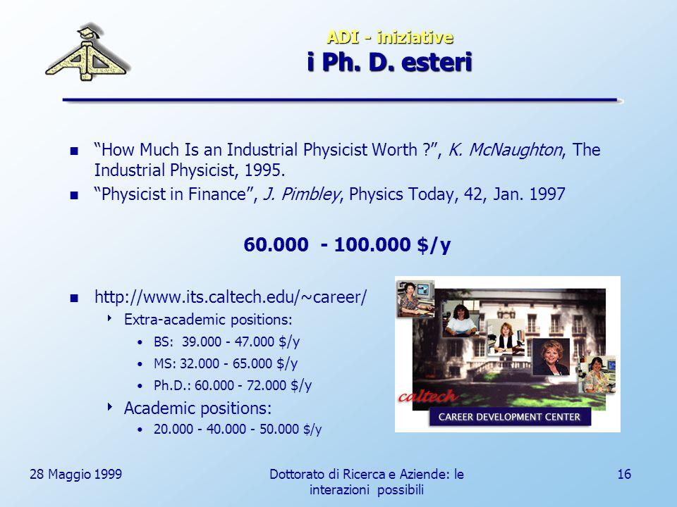 28 Maggio 1999Dottorato di Ricerca e Aziende: le interazioni possibili 16 ADI - iniziative i Ph.