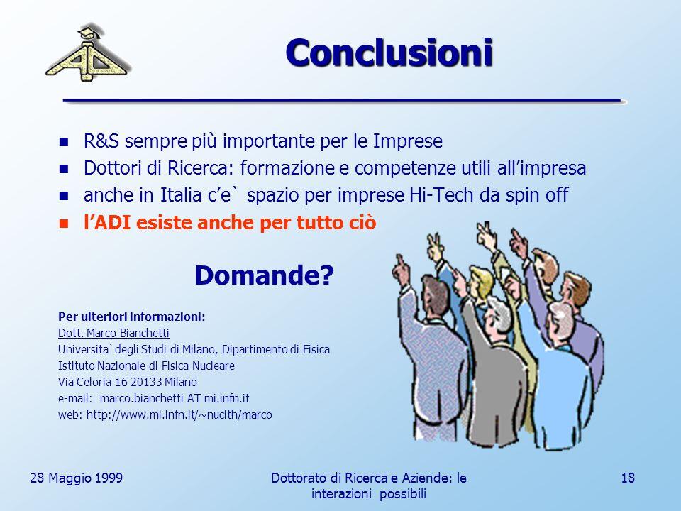 28 Maggio 1999Dottorato di Ricerca e Aziende: le interazioni possibili 18 Conclusioni R&S sempre più importante per le Imprese Dottori di Ricerca: formazione e competenze utili allimpresa anche in Italia ce` spazio per imprese Hi-Tech da spin off lADI esiste anche per tutto ciò Domande.