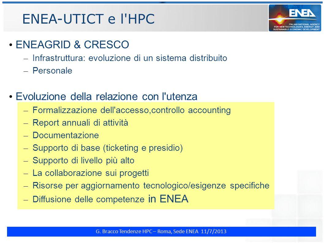 G. Bracco Tendenze HPC – Roma, Sede ENEA 11/7/2013 ENEA-UTICT e l'HPC ENEAGRID & CRESCO – Infrastruttura: evoluzione di un sistema distribuito – Perso