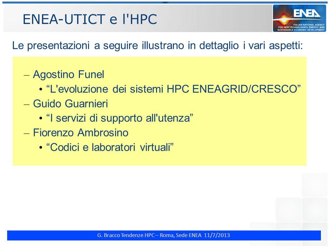 G. Bracco Tendenze HPC – Roma, Sede ENEA 11/7/2013 ENEA-UTICT e l'HPC Le presentazioni a seguire illustrano in dettaglio i vari aspetti: – Agostino Fu