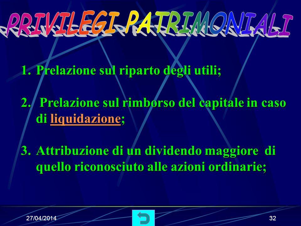 27/04/201431 Sono azioni che la società può emettere quando viene ridotto il capitale sociale, per esempio, in caso di esuberanza.