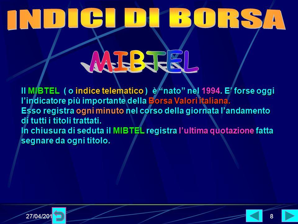 27/04/20148 Il MIBTEL ( o indice telematico ) è nato nel 1994.